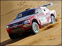 Colin McRae in his Nissan on the Dakar Rally