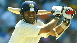 Sachin Tendulkar drives for India