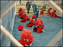 Detainees at Camp X-Ray at Guantanamo Bay, Cuba (file photo)