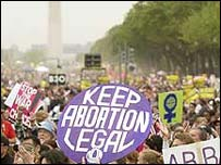 Pro-choice demonstrators in Washington in 2004