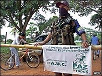 Puesto de control de las AUC en San Rafael de Rialito