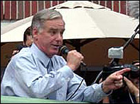 Howard Dean addresses a rally in Boston