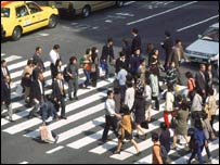 A pedestrian crossing in Tokyo's Ginza shopping district