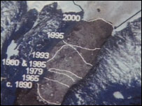 Satellite image with glacier retreat marked