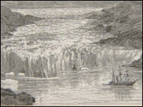 Engraving of how the Sermilik glacier looked 100 years ago