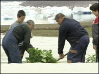 Local residents growing potatoes