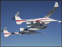 WhiteKnight carries SpaceShipOne (Scaled Composites image)