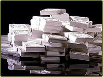 Bundles of paper money (EyeWire)