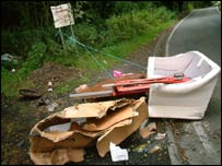 Rubbish dumped illegally