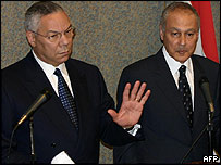 US Secretary of State Colin Powell (left) with Egyptian Foreign Minister Aboul Gheit