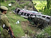 Bus crash in India near Sumbal village in July