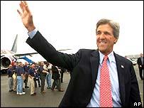John Kerry arriving in Boston