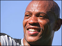 Maurice Greene smiles