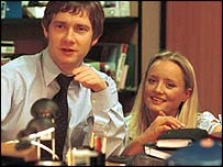 Dawn and Tim in the BBC's The Office