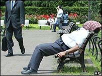 Businessman takes a nap