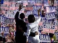 Barack Obama and his wife Michelle at the Democratic convention in Boston, July 2004