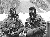 Lino Lacedelli and Achille Compagnoni after the ascent