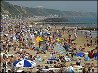 Bournemouth beach during the heatwave of 2003