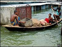 Flooding scene in Dhaka, Bangladesh