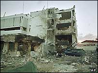 The US embassy building in Dar es Salaam on 8 August 1998, a day after the bombing