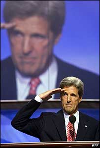 John Kerry salutes as he addresses the Democrat convention, 29 July