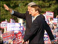 John Kerry and John Edwards at a rally on Boston on Friday