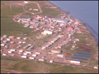 Ariel view of village of Shishmaref, Alaska