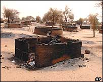 A burned village in the Darfur region of Sudan is seen in this photo from 2004 released by the World Food Programme