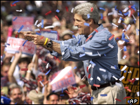 John Kerry points to supporters