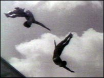 Divers performing at the Berlin Olympics