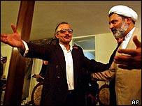 Hashem Aghajari is welcomed at home by reformist cleric Mohsen Kadivar