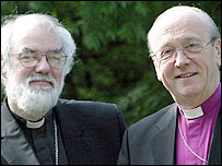 Dr Williams (left) and Dr Hope at the General Synod in York in July 2004