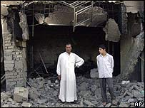 Damage from fighting in Falluja, 30 July 2004
