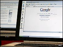 Computer screen showing Google webpage