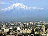 Mount Ararat behind Yerevan   BBC