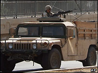 US Solider in a Humvee