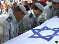Soldier carry the coffin of Israeli soldier Moshe Almaliach, Israel
