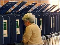 A woman votes