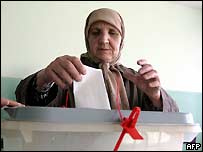 Woman voting in Kosovo