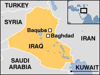 Map of Iraq with Baquba
