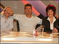 Louis Walsh (l), Simon Cowell and Sharon Osbourne, The X Factor