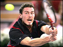 Marat Safin in action in Madrid