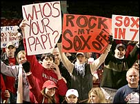 Boston Red Sox fans show their support for their team