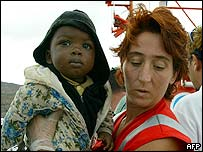 Red Cross worker with baby