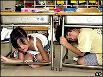 Japanese first graders squeeze in underneath classroom desks during an earthquake drill Friday, Sept. 1, 2000