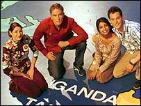 Blue Peter presenters (left-right) Liz Barker, Simon Thomas, Konnie Huq and Matt Baker