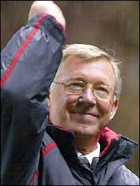 Sir Alex Ferguson celebrates the win over Arsenal