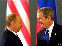 Владимир Путин и Джордж Буш