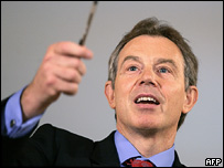 Tony Blair at his monthly press conference