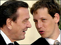 Germany's Gerhard Schroeder with Czech Prime Minister Stanislav Gross